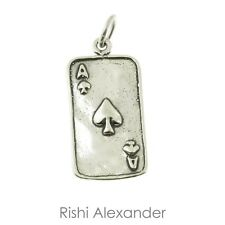 925 Sterling Silver Ace of Spades Poker Card Charm Made in USA