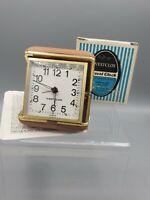 WESTCLOX Wind Up Travel Alarm Clock Tan Case Original Box w/ Instructions Vtg