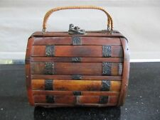 HAND MADE WOOD & METAL HAND BAG BROWN WITH WIRE & WOOD HANDLES BRAND NEW EXC CON