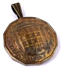 UK England 3 Pence Gate Coin Pendant British English Vintage Necklace Jewelry