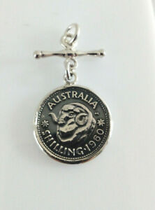 Sterling Silver Australian 1960 Oxidised Shilling Coin Pendant On Fob/T Bar