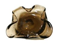 1950'S MURANO ART GLASS CIGAR ASHTRAY-SMOKED AMETHYST-CONTROLLED BUBBLES