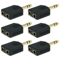 """6x Stereo 6.35mm 1/4"""" Splitter 1 Male Plug to 2 Female Jack Audio Y Adapter"""