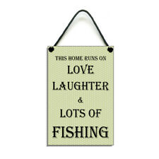 Handmade This Home Runs On Love Laughter & Fishing Gift Home Sign/Plaque 420