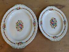 2 x Grindley Cream Petal sandwich & serving plate - Vintage Floral Platter - Pot