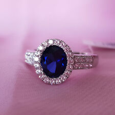 Genuine 100% Real Sterling Silver Ring. AAAAA grade Sapphire.Size 7,8,9.R1