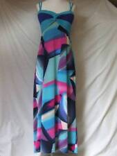 """LE GROUP BLUE PINK STRETCH MAXI DRESS PADDED BUST LADIES CHEST 28-36"""" HOLS BEACH"""