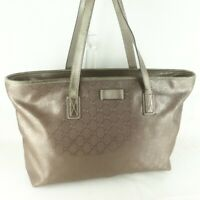 Auth GUCCI GG IMPLEMENT GG Pattern PVC Canvas Tote Bag Purse Bronze 211137