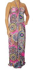 R1 Sexy Pink Multicolor Long MAXI DRESS Halter Beach Sun Casual Summer S M L XL