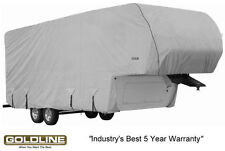 Goldline RV Trailer 5th Wheel / Toy Hauler Cover Fits 34-36 Foot Grey