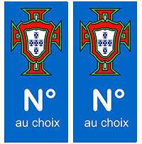Autocollant PORTUGAL numéro foot stickers autocollants plaques immatriculation