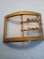 ANTIQUE VINTAGE VICTORIAN GOLD TONE BELT BUCKLE WITH 8 RHINESTONES