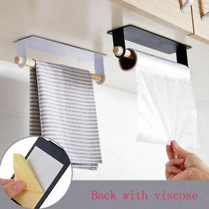 Kitchen Roll Paper Towel Holder Under Cabinet Self-Adhesive Storage Rack Hangers