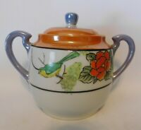 Vintage Hand Painted Birds/Flowers Covered Double Handled Lusterware Sugar Bowl