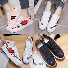 HOT Women's PU Leather Embroidered Trainers Sneakers Lace Up Flat Casual Shoes