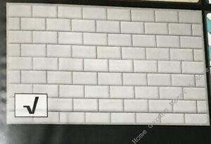 "Gray Subway Tile Foil Backsplash Kitchen Wall Art Decal 17.7"" x 29.5"" Peel Stick"