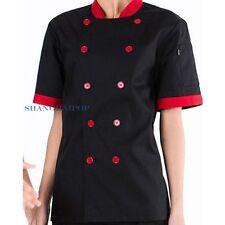Men Women Chef Uniform Double Breasted Cook Jacket Coat Costume Short Sleeve New