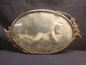 Antique Large Curved Bubble Glass Oval Brass Picture Frame Child Baby Photo