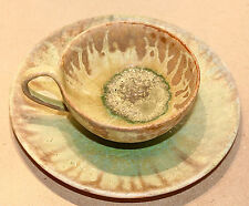 Alexandre Bigot Tea Cup + Saucer #3 French Antique Art Nouveau Pottery