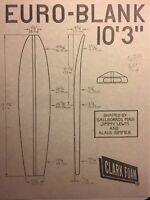 """Clark Foam Surfboard""""vintage Flyer/EURO-BLANK""""1960-80  Surf(jacobs,velzy,Webber"""