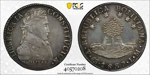 PCGS Bolivia 1837 PTS LM Mint 8 Soles Bolivar Silver Crown Coin XF #1