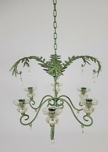 Wrought Iron Crystal Drop Candle Chandelier Hanging Candelabra 6 Arm Verdigris