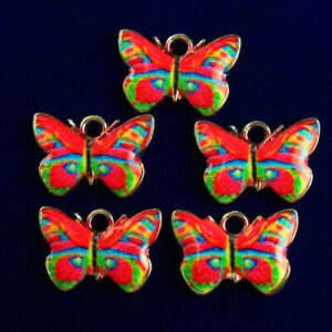 5Pcs Carved Tibetan silver Dripping Oil Red Butterfly Pendant Bead R53995