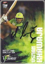 ✺Signed✺ 2014 2015 SYDNEY THUNDER Cricket Card USMAN KHAWAJA Big Bash League