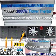 12v Car Battery to 230v Home Mains Socket USB 4000w Peak Power Inverter INV2000
