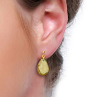 Briolette lemon topaz gemstone 925 Silver yellow gold plated drop earrings