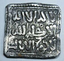 Ancient Islamic Spain 1100's-1200's 12th 13th Century Silver Square Dirham Coin