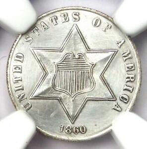 1860 Three Cent Silver Coin 3CS - Certified NGC UNC Details (MS) - Rare Coin!