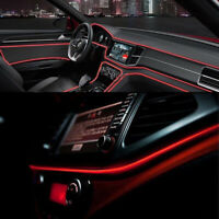 1* Red 2M/6.5FT LED Car Interior Decorative Atmosphere Wire Strip Light Lamp 12V