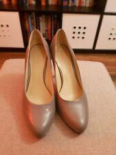 NINE WEST Grey Leather Women Heel Shoes - Size: EU 39/UK 6