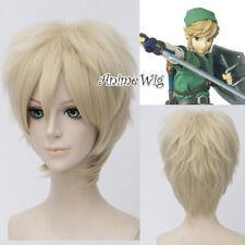 Anime Basic for The Legend Of Zelda Link Light Blonde Halloween Cosplay Wig+Cap
