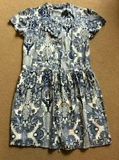SEXY ATMOSPHERE BLUE WHITE PRINT SHIRT STYLE CAP SLEEVE SHORT DRESS SIZE 10 VGC
