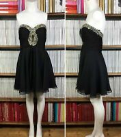 SHERRI HILL prom dress embellished sweetheart neckline skater party UK 12 US 8