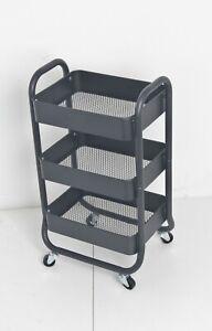 New Black Kitchen Trolley Cart Rolling 3 Tier Storage Rack Trolley With Wheels