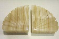 Vint mid century pair alabaster marble book ends -door stops -paper weights VGC