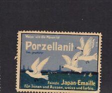 Vintage Poster Stamp Label PORZELLANIT JAPAN EMAILLE Germany Paint SEAGULLS Bird