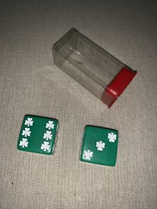 2 Jumbo 25mm 1 inch Pair of Green Dice with White Clover/Shamrock Dots