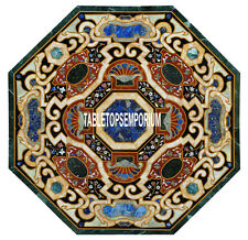 48'' Scagliola Marble Dining Table Top Pietradura Home Decor Marquetry Work Arts