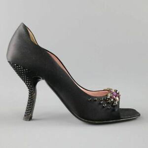 PRADA Size US 6 / EU 36 Black Silk Purple Crystal Peep Toe Curved Stud Pumps