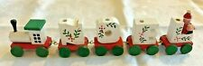 Vintage Noel Christmas Holiday Painted Wooden Candle Train Decoration Mantle