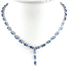 Sterling Silver 925 Genuine Cabochon Kyanite & Faceted Tanzanite Necklace 18 In
