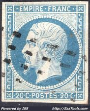 FRANCE EMPIRE 20c BLEU N° 14A CACHET ROULETTE DE RECTANGLE NOIRS