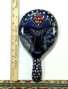 "1 - New, Medium Batik Wood Hand Mirror, 10.5"" x 5.5"" - Made in Java, Indonesia"