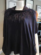 NWT $109.00 Chico's Fancy Feathers Poncho. Eggplant  Size: S/M.