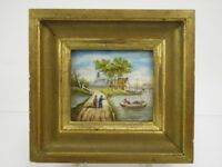 Antique early 20th century miniature oil painting river landscape with boats
