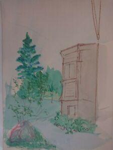 """""""im Park """" - Skizze Aquarell alte Zeichnung farbige Handzeichnung Realismus"""